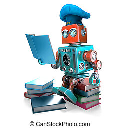 robot, mistrz kucharski, czytanie, cookbook., 3d, illustration., isolated., zawiera, obrzynek ścieżka