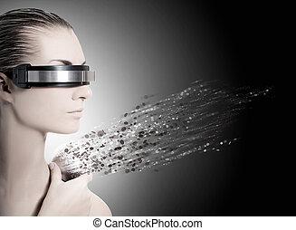robot., nanotechnology, conceito, femininas