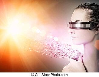 robot., nanotechnology, concept, femme