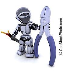 robot, noha, drót cutters, és, kábel