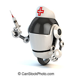 robot nurse holding the syringe 3d illustration