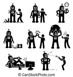 robot, och, human.
