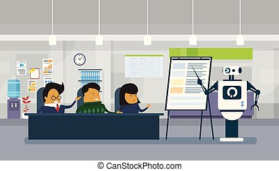 Robot Office Worker Holding Presentation Or Finance Report To Group Of Asian Businesspeople Sitting At Desk During Meeting
