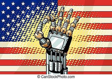 Robot OK gesture, the US flag