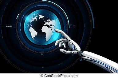 robot, ologramma, virtuale, mano, toccante, terra