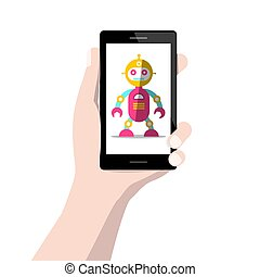 Robot on Mobile Phone Screen in Human Hand Isolated on White Background