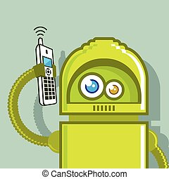 Robot on The Phone Vector Icon