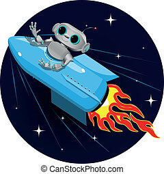robot on the space rocket