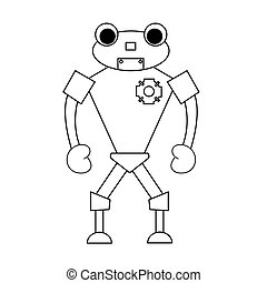Robot outline character. Isolated stock vector illustration
