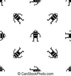 Robot pattern seamless black