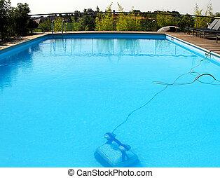 robot, piscina, natación