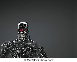 robot, plano de fondo
