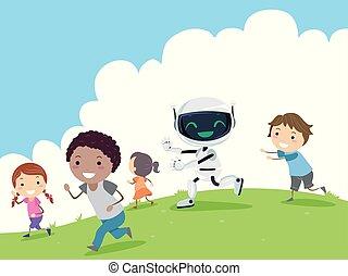 Robot Play Stickman Kids Outdoors Illustration