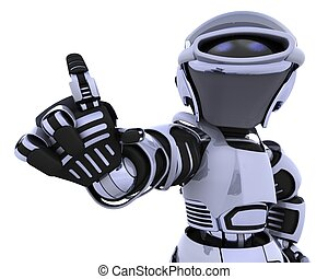 robot pointing - 3D render of a robot introducing or ...