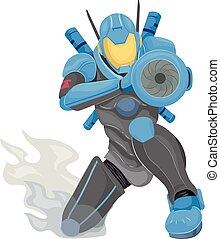 Robot Police Aim Illustration