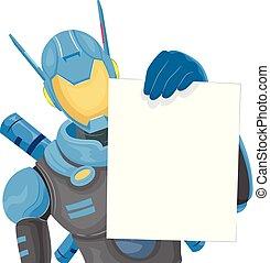 Robot Police Board Note Illustration