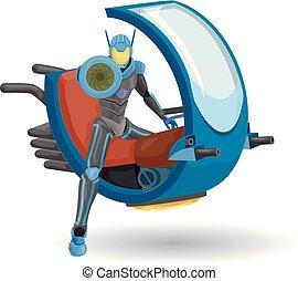 Robot Police Ride Illustration