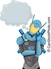 Robot Police Thinking Illustration