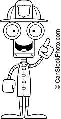 robot, pompier, idée, dessin animé