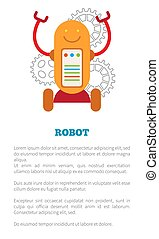 Robot Poster with Text Sample Vector Illustration