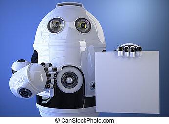 robot, presa a terra, uno, vuoto, asse, per, testo, o, advertising., isolated., c