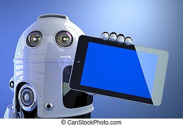 robot, presa a terra, vuoto, tavoletta digitale, computer