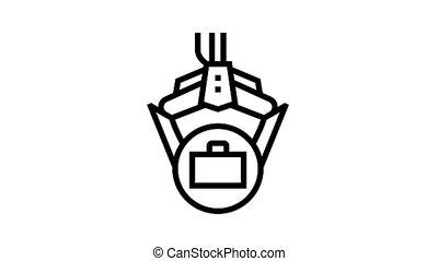 robot, prise, animation, icône, cas, ligne, bras