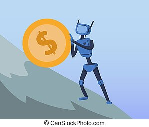 Cyborg pushing big dollar coin up the steep hill. Business and AI. Artificial intelligence and finance. Sisyphean labour metaphor. Concept vector illustration, flat style.