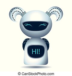 robot., réaliste, blanc, vecteur, illustration