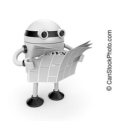 Robot read newspaper - New technologies metaphor. Isolated...