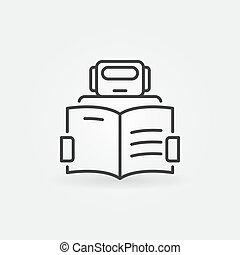 Robot reading a book icon - vector machine learning sign