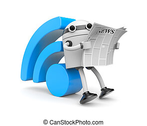 Robot reading RSS news - Image contain the clipping path