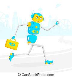 robot, rennende , met, aktentas