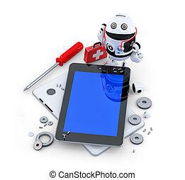 Robot repairing tablet computer. Technology concept