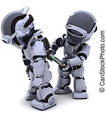 Robot replacing battery pack - 3D render of a Robot...