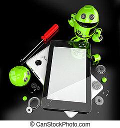 robot, riparare, tavoletta, computer., contiene, percorso tagliente, di, schermo, e, intero, scena