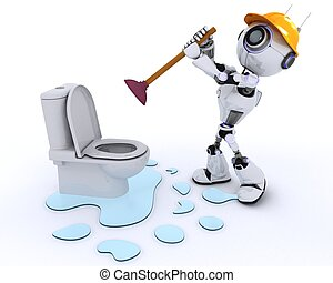 Robot robot plumber fixing a leak
