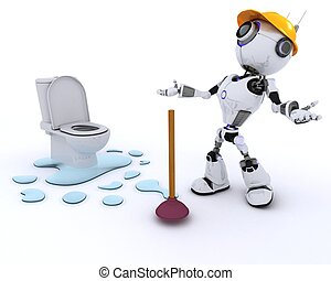 Robot robot plumber fixing a leak