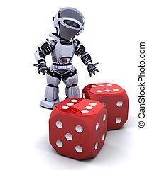 robot rolling casino dice