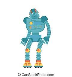 Robot sad. Cyborg sorrowful emotions. Robotic man dull....
