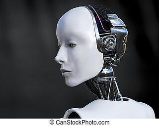 robot, sad., dall'aspetto, interpretazione, femmina, 3d