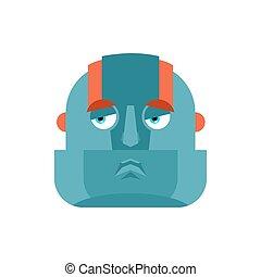 Robot sad emoji. Cyborg sorrowful emotions. Robotic man...