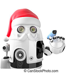 Robot Santa Claus holding a pen. Isolated. Contains clipping path