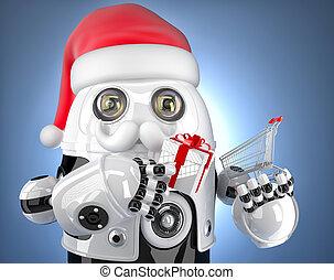 Robot Santa holding a shopping cart. Christmas concept. Contains