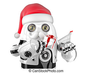 Robot Santa with shopping cart and gift box. Isolated. Contains clipping path