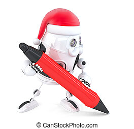 Robot Santa writes something with a pen. Isolated. Contains clipping path