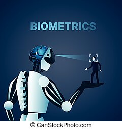 Robot Scanning Man Face Biometrics Identification Access...