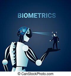Robot Scanning Man Face Biometrics Identification Access...