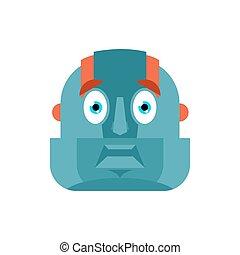 Robot scared OMG avatar. Cyborg Oh my God emoji. Frightened Robotic man. Vector illustration