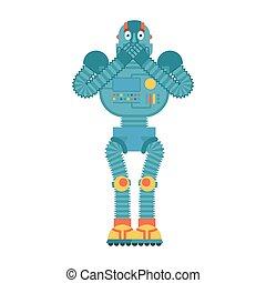 Robot scared OMG. Cyborg Oh my God emoji. Frightened Robotic man. Vector illustration